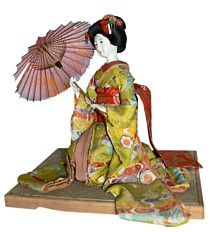 japanese antique dol of sitting maikol, 1920's