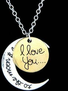 Mira este artículo en mi tienda de Etsy: https://www.etsy.com/listing/234643858/i-love-you-to-the-moon-and-back-necklace