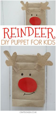 This cute paper bag reindeer puppet is a super easy Christmas craft for kids to make and they get to play with it afterwards! #christmas #christmascrafts #reindeer