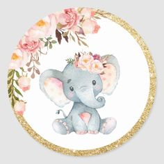 These Pink Floral Elephant Baby Shower Round Labels are perfect for baby shower favors. Designed to match our Pink Floral Elephant Baby Shower collection. Matching items available in store! (c) The Happy Cat Studio All rights reserved Elephant Baby Shower Favors, Baby Girl Elephant, Baby Girl Shower Themes, Elephant Baby Showers, Pink Elephant, Baby Boy Shower, Baby Shower Labels, Elephant Theme, Dibujos Baby Shower