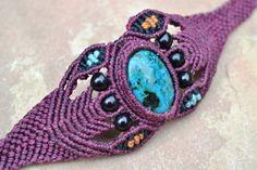Lotus Dreams Macrame Bracelet/ Macrame Jewelry/ Yoga Jewelry/ Micromacrame/ Turquoise Stone/ Burgundy via Etsy