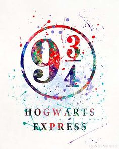 9 3/4 Harry Potter Watercolor Wall Art Poster - Prices from $9.95 - Click Photo for Details - #harrypotter#christmasgift#giftformom#decoration#harrypotterfan #hogwartsexpress