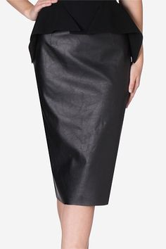 Raven Faux Leather Pencil Skirt. Add a little edge to your winter wardrobe with this season's must have high waisted black faux leather pencil skirt. Elongating the silhouette with a high waist and slim fit, this is the perfect work to play number.