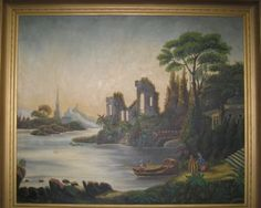 """Romantic folk art painting. This painter was inspired by china--not the country, the dishes. The buildings here appear to be copied from old English china patterns. In the lower right corner, Death invites a maiden to step aboard his boat and travel to eternity past flora and architecture from around the world. 19th C. Oil on canvas. 35"""" x 30"""" framed. $225.00"""