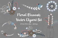 Floral Wreath Clipart Vectors by The Autumn Rabbit on Creative Market Free Design Resources, Vector Design, Graphic Design, Ad Design, Pattern Design, Floral Design, Hand Drawn Flowers, Free Graphics, Vector Graphics
