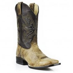 Stetson Cowboy Boots Men's Waxy Honey Leather Square Toe