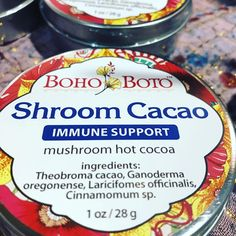 BOHO BOTO forages local mushrooms for her herbal blends that are tasty and boost your natural immunity to get you through through the holidays. Sold at Holiday Market in Eugene. Theobroma Cacao, Holiday Market, Comfort And Joy, International Recipes, Gift Guide, Cocoa, Herbalism, Stuffed Mushrooms, Tasty