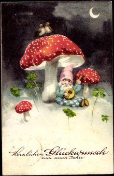 Ansichtskarte / Postkarte Glückwunsch Neujahr, Pilz, Zwerg, Mond, Kleeblatt. German New Year postcard, 1935