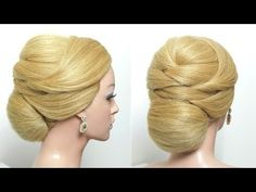 Bridal Bun Hairstyle. Elegant Updo For Long Medium Hair Tutorial - YouTube