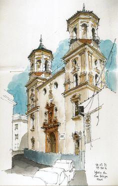 Málaga, Iglesia de San Felipe, via Flickr.