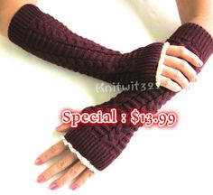 Dark Purple Knitted Arm Warmers- Fingerless Gloves-Knit Gloves-Lace gloves.