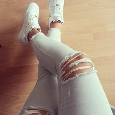 *white nike air force 1 with golden logo♥