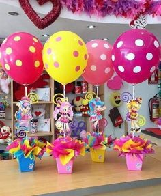 Centerpieces for Camila's birthday joliandgift Jojo Siwa Birthday, 2nd Birthday, Birthday Parties, Balloon Decorations, Birthday Decorations, Outdoor Decorations, Little Pony Party, Candy Party, Party Centerpieces