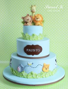 Safari Christening Cake - Cake by Karla (Sweet K) Gateau Baby Shower, Baby Shower Cakes, Safari Baby Shower Cake, Baby Boy Cakes, Cakes For Boys, Safari Cakes, Jungle Cake, Animal Cakes, First Birthday Cakes
