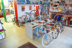 Like the bikestands! ||Ten more of the world's coolest bike shops | Cycling Tips