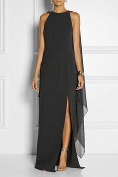 Black stretch-wool and silk-georgette Concealed hook and zip fastening at back 96% wool, 4% spandex; trim: 100% silk Dry clean