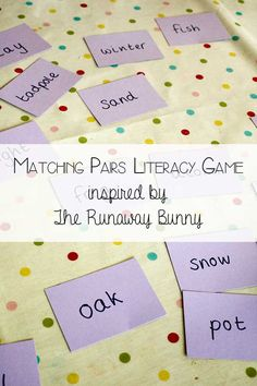 Simple game which is easily adapted for younger and older children matching connected words ideal inspired by the book The Runaway Bunny.