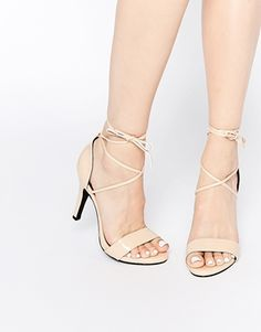 Glamorous Nude Tie Up Barely There Heeled Sandals
