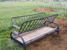 Turn an old futon into a hay feeder. Lower height is great for Mini's, goats, and sheep.