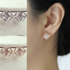 Fashion Diamond-Shaped Crystal Rhinestone Hollow Earrings Pierced Stud Jewelry #new #Stud