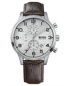 Hugo Boss Watch, Men's Brown Croc Embossed Leather Strap 1512447 - Men's Watches - Jewelry & Watches - Macy's