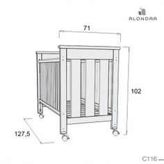Cuna bebé medidas: 60x120 cm - C116-2328