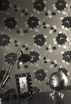 Statement Lola Black Floral Wallpaper - B&Q for all your home and garden supplies and advice on all the latest DIY trends Wallpaper Sydney, Next Wallpaper, Flock Wallpaper, Feature Wallpaper, Tree Wallpaper, Bedroom Wallpaper, Black Floral Wallpaper, Silver Wallpaper, Graphic Wallpaper