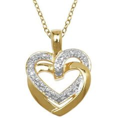 This lovely two-tone pendant features a double heart in gold-plated sterling with glittering diamond accents for a sophisticated look. Metal: Two-tone yellow gold-plated sterling. More Details 100 Followers, Diamond Glitter, 18k Gold, Sunglasses, Detail, Yellow, Pendant, Heart, Jewelry