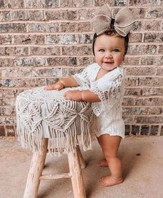 Lily Boho Vintage Lace Baby Girl Wing Sleeved Romper This darling white romper is pure lace perfection. A heavy crocheted lace creates the bodice of this beautiful romper. Bell sleeves add a dramatic yet elegant flair. Romper is fully lined with snap closures. Baby Girl First Birthday, First Birthday Outfits, Birthday Dresses, Baby Girl Dresses, Baby Dress, Flower Girl Dresses, Baby Girls, Girl Outfits, Baby Fall Fashion