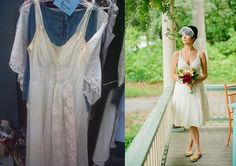 """Take it from Hannah Brown, the designer and owner of Blue-Eyed Boutique in Biddeford, Maine. """"Because of their origins, I can keep my dresses priced lower than most designers."""" With Brown's help, a slip was transformed into a sweet wedding gown. Michigan Wedding Venues, Inexpensive Wedding Venues, Wedding Invitation Etiquette, Fun Wedding Invitations, Wedding Linens, Wedding Gowns, Wedding Dress Preservation, 30th Wedding Anniversary, I Dress"""
