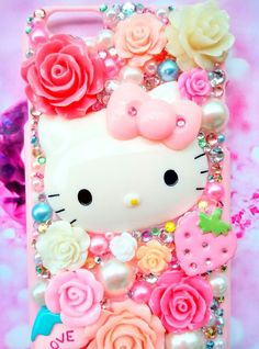 pink hello kitty iPhone 8plus 8 7 7+ 6 phone case handmade decoden pink roses #HelloKitty