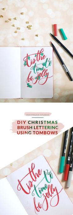 Holiday hand lettering using Tombow brush pens. Click to see pretty photos and a step by step tutorial - Inkstruck Studio