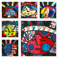 Britto Style Liberty on top of Etchings-http://2soulsisters.blogspot.com/2016/04/hicks-statue-of-liberty-and-brittowe.html