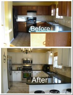Kitchen ideas on pinterest kitchen backsplash staining for Painting wood cabinets white before and after