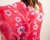 "Hand Painted Pink Chiffon Silk Tunic Dress with Butterfly Sleeves ""Hibiscus Garden"" - Silk Top - Tunic - Silk Blouse - Caftan Dress - Kaftan part of a Tagt team Etsy treasury, click to see more."