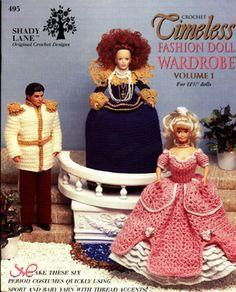 Timeless Fashion Doll Wardrobe vol. 1 Barbie Doll crochet patterns.  Prince, Cinderella, Queen Elizabeth I, Pilgrim, 1930's Dance Outfit and 1900 Day Ensemble.