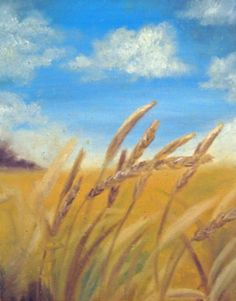 Wheat Field Painting  Fine Art Print  Wheat by LatreiaDesigns, $25.00