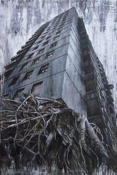 Walter Trecchi.    Antropico - Naturale XIX, 2012. Tecnica mista su tela, 150 X 100 cm.
