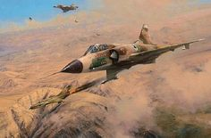 'One MiG Down', by Robert Taylor (Flying a Israeli Air Force Mirage III, Squadron Commander Avraham Lanir shoots down a Syrian on 9 November Military Jets, Military Aircraft, Fighter Aircraft, Fighter Jets, War Jet, Vietnam, Airplane Art, Dog Fighting, Tecno