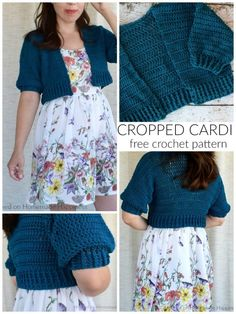 Cropped Cardi Crochet Pattern - This light weight, cotton Cropped Cardi Crochet Pattern is great for summer nights when it's not quite warm, but not cold enough for a jacket either.