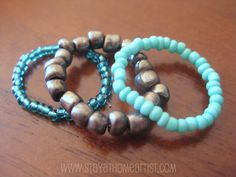 stayathomeartist.com: stretchy stackable seed bead rings...