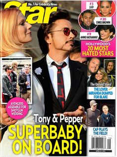 STAR, 22 2013 Pepper has a big lunch. The media has a frenzy. Meanwhile, US Weekly sues a photographer after their 'exclusive' photo of Cap and a mystery woman ends up on the cover of STAR in. Marvel Comic Universe, Marvel Cinematic Universe, Tony And Pepper, Shotgun Wedding, Iron Man Captain America, Medium Blog, Bucky Barnes, Robert Downey Jr, Comics