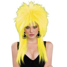 80's Lemon Zinger Wig. Looking for an 80's spiked look wig or a punk style wig?. Then, funk to the music with this awesomely bright NEON YELLOW wig. Elasticized on the sides for a better fit. Cap is an open weave for better circulation. | eBay!