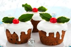 If you prefer a lighter fruit cake at Christmas then these individual muffin-sized cakes will fit the bill perfectly. Made with a simple all-in-one sponge cake mix they are so much quicker to make than a classic fruit cake too! To give the cakes a boozier flavour, soak the dried fruit in 2 tbsp rum or brandy for 1-2 hrs before adding to the sponge mixture. For a more sophisticated decoration replace the glace icing with blanched almonds, pecans, sliced dried apricots and mixed coloured glace…