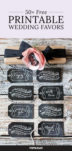 It's no secret that wedding costs can add up fast. But we have a secret of our own: downloadable wedding labels! These labels are the perfect addition to any party favor, from almonds to matches to a spa scrub. And did we mention they're free? Keep on scrolling for our roundup of some of the best wedding favor printables on the web that will have your bank account thanking you!