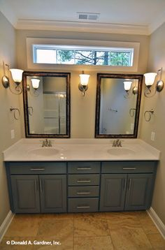 A narrow window can bring a lot of natural light into the bathroom. The Tanglewood #757. http://www.dongardner.com/house-plan/757/the-tanglewood. #Bathroom #HomePlan #FloorPlan