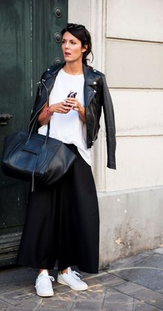 La simplicité et les jolies choses : Photos Stan Smith kicks with a white tee, leather moto, and Celine tote. Mode Outfits, Chic Outfits, Fashion Outfits, Womens Fashion, Fashion Tips, Fashion Trends, Fashion Hacks, Petite Fashion, Mode Chic