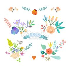 Hand Drawn vintage floral elements. Set of flowers. Royalty Free Stock Vector Art Illustration