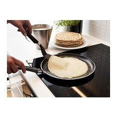 IKEA - SKÄNKA, Crepe/pancake pan, Easy grip handle makes the pan easy to lift.The pan has extra thick walls and base, which distribute the heat evenly.The pan has a low edge and sloping sides that make it easy to flip pancakes and crepes.Made from aluminum, which spreads heat evenly and energy efficiently, and makes it easier to regulate heat so the food does not burn and stick.Treated with Teflon® Classic non-stick coating that makes cooking and cleaning easy.The pan's low weight…