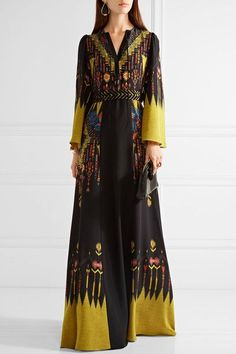 Etro - Belted Printed Silk Crepe De Chine Maxi Dress - Black - IT48